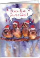 douce nuit sainte nuit, Merry Christmas in French, singing sparrows card