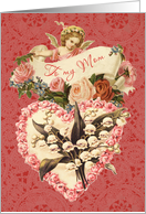 Mom, Happy Valentine's Day, vintage angel, roses and heart card