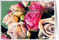 Gratulerer med f�dselsdagen cream and pink roses card