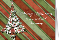 merry christmas to a wonderful secretary green stripes christmas tree card