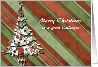 merry christmas to a great colleague green stripes christmas tree card