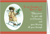 To my Daughter and Son-in-Law, Merry Christmas, Vintage Girl, Sleigh card