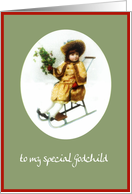 to my special godchild merry christmas girl on sleigh holly card