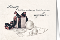 To my Husband, I still remember our first Christmas together card