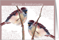 happy anniversary two love birds card