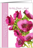 to my great aunt happy birthday pink anemone flowers card
