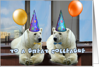 happy birthday to a great colleague polar bears with balloons card
