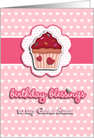 birthday blessings to my great aunt, cupcake, 3-d-heart effect, pink card