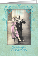 Happy Wedding Anniversary, Aunt and Uncle, Vintage dancing Couple card