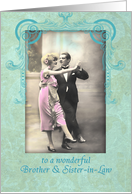 happy wedding anniversary, brother and sister-in-law,vintage dancing couple, pink and turquoise card