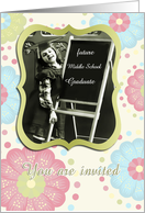 you are invited, daughter's graduation middle school, vintage girl, pastel floral card