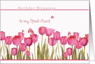 to my great aunt,birthday blessings,christian birthday card,tulips card