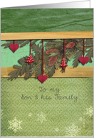 to my Son & family, christmas card, hearts, fir cone, pine branch, card