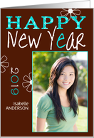 happy new year 2013, photo card, turquoise & chocolat card