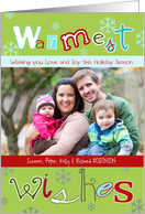 Warmest Wishes, Christmas photo card, snowflakes, letters card