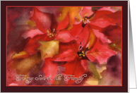 to my Son & family, Christmas card, Poinsettias, watercolor painting card