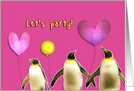 let's party, teenager birthday party invitation, penguins, balloons card