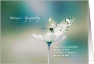 with deepest sympathy, white butterfly on white flower card