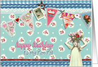to my pen pal, birthday card, bunting & roses, vintage girl card