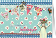happy birthday in Norwegian, bunting, cupcake, scrapbook style card