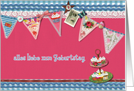 happy birthday in German, bunting, cupcake, scrapbook style card