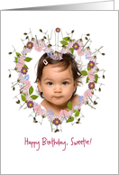 happy birthday photo card, little flowers, heart card