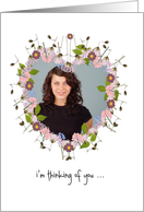 thinking of you, photo card, little flowers, heart card