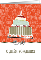 happy birthday in Russian, cake & candle card