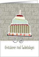 Gratulerer med f�dselsdagen, happy birthday, Norwegian, cake & candle card