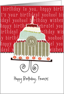 Happy birthday, Frances, customizable birthday card, cake, card