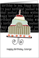 Happy birthday, George, customizable birthday card, cake, card