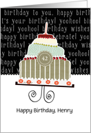 Happy birthday, Henry, customizable birthday card, cake, card