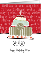 Happy birthday, Helen, customizable birthday card, cake, card