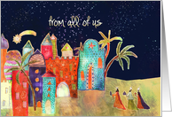 from all of us, Christmas card, three wise men, oriental town card