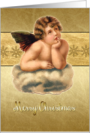 Merry Christmas card, vintage victorian cherub, gold effect card