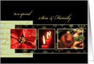 Merry Christmas to my son & family, poinsettia, ornament, gold effect card