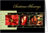 Christmas blessings, Christian card, gold effect, poinsettia, luke 2 card