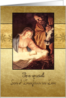 Merry Christmas to my son & daughter in law, nativity, gold effect card