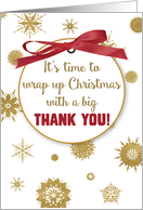 Thank You For Christmas Gift, Gold Snowflakes, Red Ribbon card
