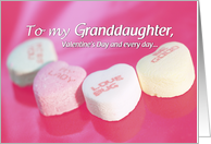 Granddaughter Valentine's Day with Candy Hearts on Pink, Holiday card