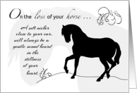 Loss of Horse, Equestrian Sympathy, Silhouette card