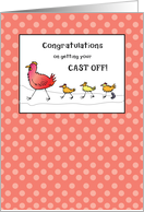 Congratulations Getting Cast Off, Chickens Walking card