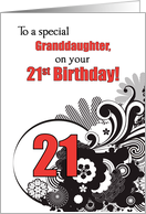 Granddaughter, 21st Birthday Religious Swirls card