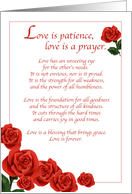 Wedding Congratulations with Red Roses, Religious Love is Patience card