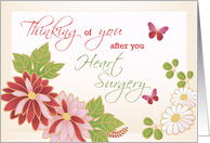 Heart Surgery, Thinking of You After Operation, Flowers, Butterfly card