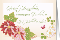 Great Grandma, Great Grandmother, Get Well Wishes, Flowers, Butterfly card