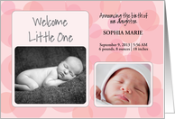 Customized Photo and Name Baby Girl Birth Announcement Pink Circles card