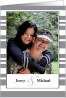 Congratulations Photo Engagement, Gray Stripes card