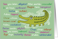 Goodbye & Good Luck from Group, Alligator card