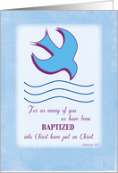 Adult Baptism Dove on Blue card